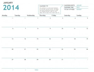 Screenshot of the 2014 Calendar Template