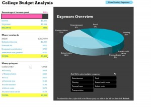 College Budget Template screenshot
