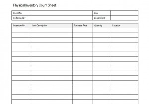 physical inventory count sheet templates