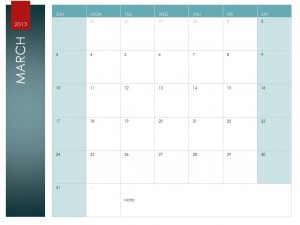 Screenshot of the March Calendar Template