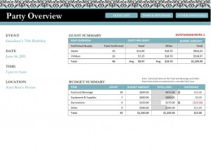 Screenshot of the Party Planner Template