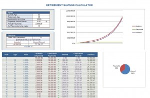 Screenshot of the Retirement Savings Calculator.