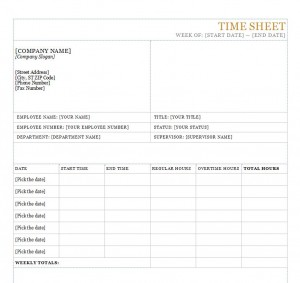 Screenshot of the Time Sheet Template