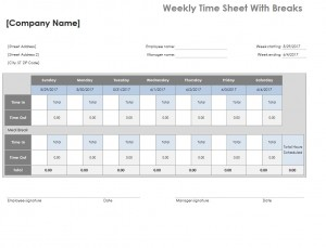 Screenshot of the Timesheet Excel Template