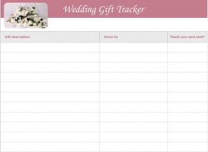 Screenshot of the Wedding Gift List Template
