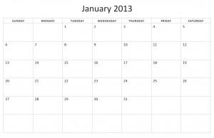 Screenshot of the Word Calendar Template