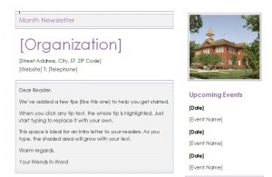 Screenshot of the preschool newsletter template