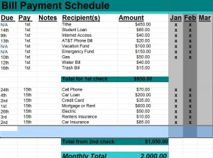 Bill Payment Schedule photo