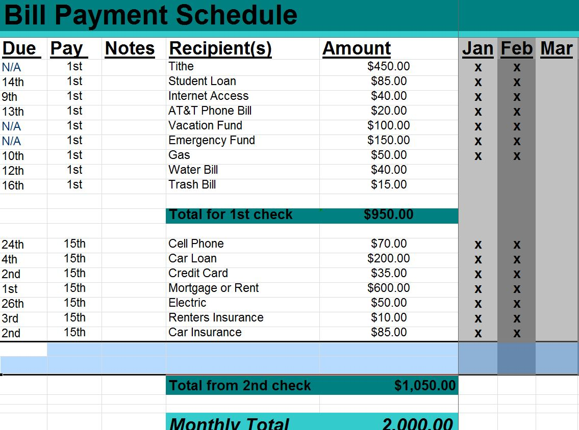 payment schedule excel template