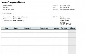 Screenshot of the Billing Statement Template