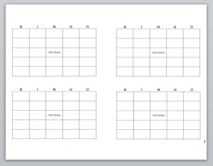 Screenshot of the Blank Bingo Cards