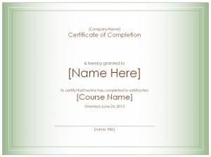The Certificate Of Completion Template