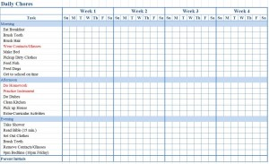 Screenshot of the Chore Chart for Kids