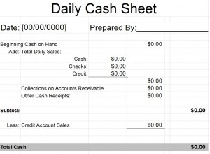 Daily Cash Sheet Template  Daily Cash Report Template