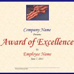 Screenshot of the Excellence Award Template