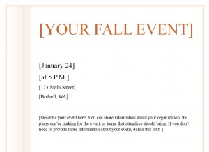 Screenshot of the Fall Event Flyer