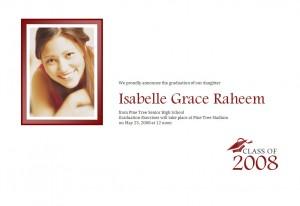 Screenshot of the Graduation Announcement Template