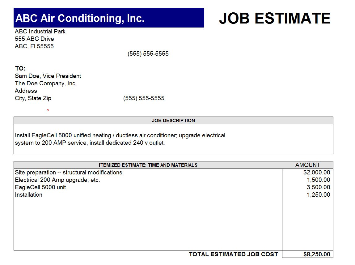 Job quotation sample