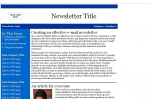 Screenshot of the Newsletter Email Template