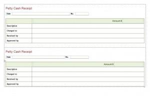 Screenshot of the Petty Cash Receipt