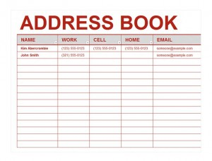 Address book template excel address book template for Telephone address book template