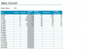 Free baby growth chart