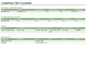 Free Camping Trip Planner