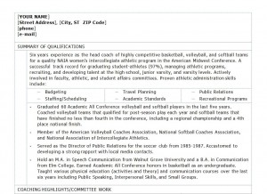 Free Coaching Resume Template