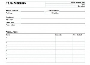 Free Informal Meeting Agenda Template
