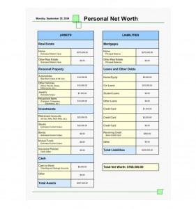 Screenshot of the Net Worth Calculator