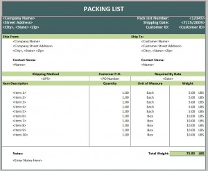 Screenshot of the Packing List Template