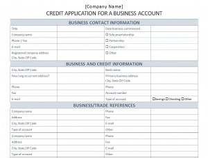 credit application forms for business