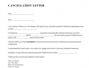 Free Cancellation Letter Template