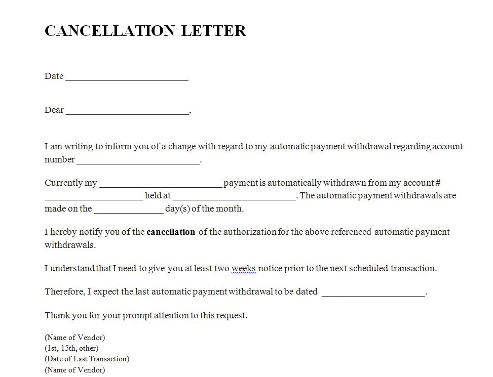 Cancellation Letter .