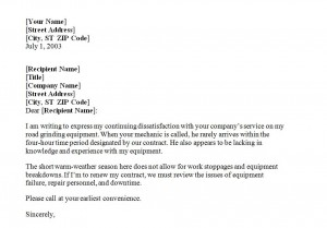 Free Letter of Complaint Template