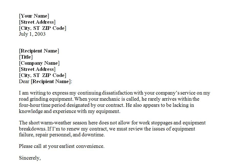 Holiday Complaint Letter Complaint Letter Holiday Complaint – Sample of Noc Letter from Company
