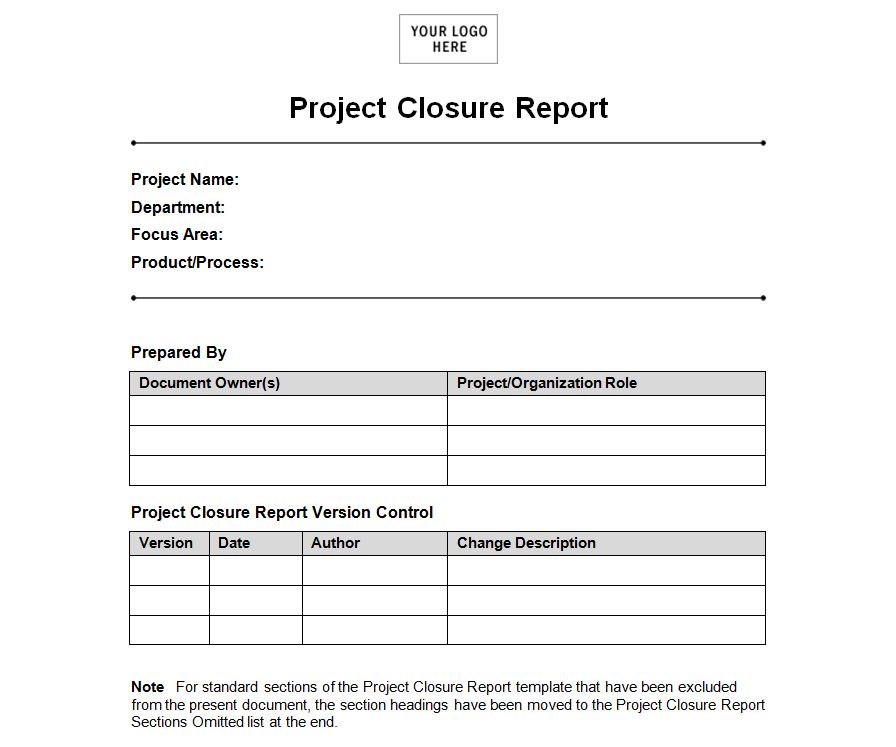 project closure report Where an agency, division or business unit has a number of projects, the project review and closure report can be used as a tool to measure success and inform other future projects.