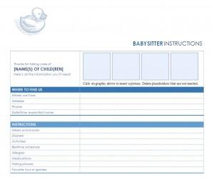 Free Babysitter Checklist
