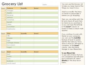 Free Grocery Checklist