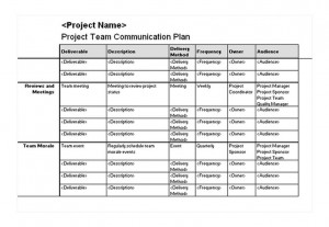 Project Team Communication Plan Free