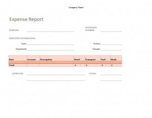 Simple Expense Report Template free