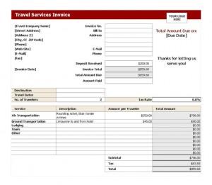 Free Travel Service Invoice