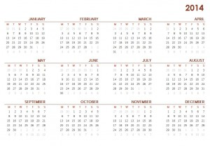 2014 Printable Calendar One Page Sheet