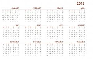 2015 Printable Calendar One Page