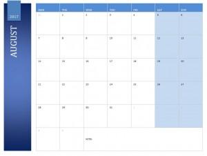 August 2017 Calendar Free