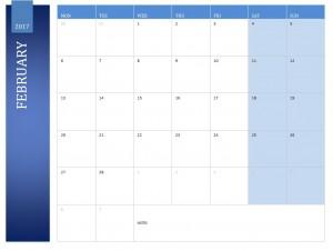 Free February 2017 Calendar