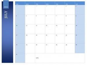 The July 2016 Calendar