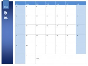 Free June 2014 Calendar