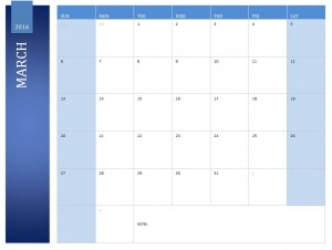 Free March 2016 Calendar