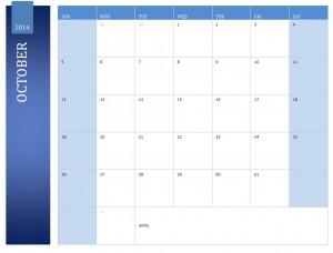 Free October 2014 Calendar